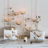 Luxury Metal Gold Candle Holder Stand Tree Bird House For Christmas Party Dinner Home Decor