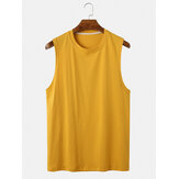 Mens Cotton Breathable Solid Color Round Neck Casual Tank Tops