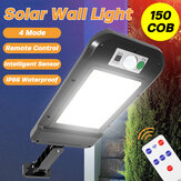 Motion Sensor Solar Powered 150 COB LED Wall Light Home Street Outdoor Lamp + Remote Control