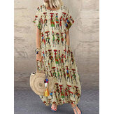 Women Ethnic Style Figure Print Round Neck Short Sleeve Loose Baggy Maxi Dresses