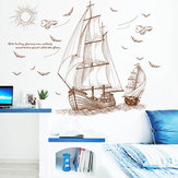 47''x35 '' Large Pirate Ship Seiling Wall Sticker Vinyl PVC Dekal Kunst Innredning