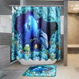 180x180cmBlueDolphinDeepSeaImpermeable Cuarto de baño Cortina de ducha con 12 ganchos