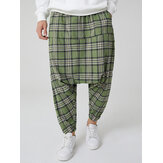 Mens Plaid Elastic Waist Pocket Cotton Drop-Crotch Pants