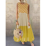 Polka Dot Plaid Print Patchwork Sleeveless Maxi Dress