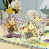 Clear Hand Crank Music Box Star Wind Up Gurdy Melody Play Musical Movement Tunes