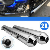 2X Motorcycle Cafe Racer Rear Exhaust Pipe with Sliding Bracke Silver Universal