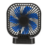 Mini Portable 3-Speed USB Timing Desk Fan 5000mAh Battery Rechargeable Fan-Blue/Black Fan Blade
