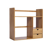 Bamboo Strip Office Small Bookshelf Desktop Storage Rack with Double Layer