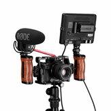 UURig R027 Universal Brazilian Rosewood Camera Cage Handle Triple Slide Screw Handle Microphone LED Light Mount