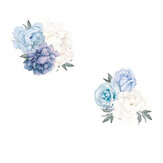 Blue Peony Rose Flowers Wall Sticker Mural Modern Girls Room Decor Art Nursery Decals Kids Room Home Decor Gift