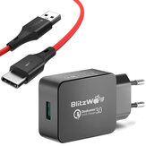 BlitzWolf® BW-S5 QC3.0 18 W USB-lader EU-adapter + BW-TC14 3A USB Type-C Oplaadgegevenskabel 3 ft / 0,91 m