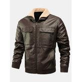 Flap Cepler ile Erkek PU Deri Kalın Zip Ön Yaka Yaka Ceketler