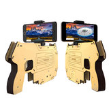 DIY Wooden 3D Reality AR Games bluetooth Toy Gun with Cell Phone Stand Holder for iPhone 7 Samsung