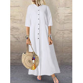 Femmes Casual Solid Long Button Down Shirt Split Kaftan Dress