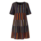 Women Short Sleeve Striped Patchwork Cotton Shirt Dress