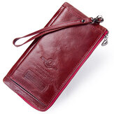 Women RFID Antimagnetic Genuine Leather Ultrathin Wallet