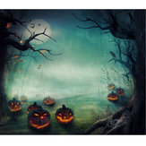 5x7FT Vinyl Halloween Pumpkin Tree Photography Backdrop Background Studio Prop