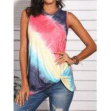 Tie-Dye Gradient Print Sleeveless O-neck Casual Tank Tops For Women