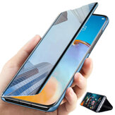 Bakeey for POCO M3 Case Foldable Flip Plating Mirror Window View Shockproof Full Cover Protective Case