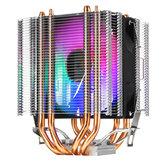 12V RGB 4 أسلاك مفرد مروحة 4 Heatpipe المزدوج برج تبريد الحرارة بالوعة مروحة تبريد فائقة الهدوء ل انتل تأخر 1155 1156 775 ل AMD المقبس AM3 / AM2