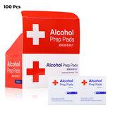 100 PCS 3 / 6x6 cm 75% formule d'alcool lingettes tampons désinfection jetable nettoyage lingettes humides