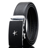 125-130CM Fashion Men Business Leather Belt Star Pattern Automatic Buckle Belt