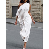 Women Solid Color Sleeveless One Shoulder Side Split Belt European Style Maxi Dress
