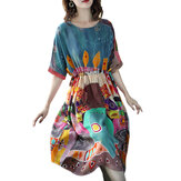Women Casual Print Short Sleeve O-Neck Dress