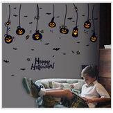 Halloween Adesivi murali in PVC impermeabile Lanterna di zucca gotica Strega Modello Decorazione della stanza dei bambini della scuola materna fai da te
