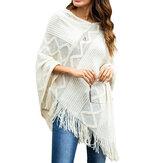 Women Pure Color Geometric Loose Knit Shawl Tassel Sweater