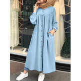 Solid Color Stand Collar Button Down Front Leisure Loose Maxi Dress with Side Pockets