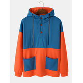 Mens Color Block Patchwork Button Up Double Pockets Casual Hoodie