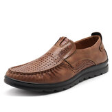 Men Casual Breathable Hollow Out Leather Oxfords