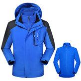 पुरुषों में 2 आउटडोर गर्म हुड जैकेट पनरोक विंडप्रूफ पर्वतारोहण कोट
