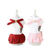 Summer Pet skirts for Small Size Dogs With Gold Buckle Plaid Student Style Fashion Pet Dog Skirt