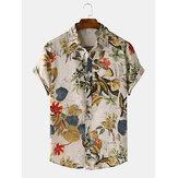 Botão floral tropical causal dos homens acima das camisas respiráveis