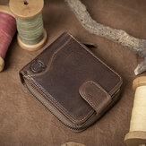 Bullcaptain Cowhide Short Wallet Zipper Coin Bag مع 16 بطاقة فتحات