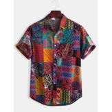 Mens Cotton Ethnic Pattern Print Floral Casual Short Sleeve Shirts