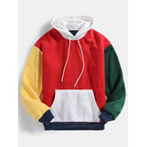 Original              Mens Color Block Patchwork Design Long Sleeve Drawstring Hoodies