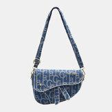 Women PU Leather Solid Letter Pattern Saddle Bag Shoulder Bag Crossbody Bag