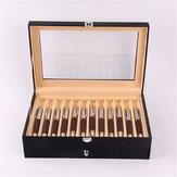24 Stifte Brunnen Vitrinenhalter PU Leder Aufbewahrung Collector Organizer Box Desktop Organizer