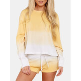 Women Yellow Gradient Round Neck Long Sleeve Drawstring Home Two-Piece Set
