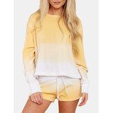 Frauen Gelb Farbverlauf Rundhals Langarm Kordelzug Home Simple Pyjama Set