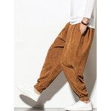 Corduroy masculino cor sólida com cordão na cintura e manguito elástico jogger Calças