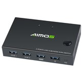 AIMOS USB HDMI Switch Box Video Switch Display 4K Splitter KVM Switch for 2 PCs Share Switcher Keyboard Mouse Printer Plug and Play