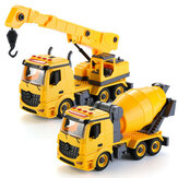 Simulation DIY Nut Disassembly Loading Unloading Assembly Engineering Truck Excavator Bulldozer Car Model Toy with LED Light & Music Effect for Kis Gift