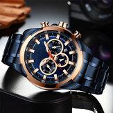 Deffrun Multifunction Business Style Men Wrist Watch Waterproof Stainless Steel Quartz Watch