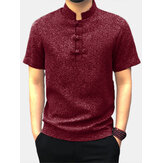 Men Casual Short Sleeve Stand Collar Chinese Style Button Shirts Kung Fu Tops Tee