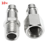 10pcs 1/4inch Male/Female BSP Adapter Compressed Air Quick Coupling Hose