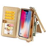 MUSUBO Çok Fonksiyonlu PU Deri ile Kart Yuvaları Cüzdan Standı Tam Vücut Darbeye Çevirme Koruyucu Kılıf Telefon Çanta için iPhone X/XS/7/8/7 Plus/8 Plus/6 / 6S / 6 Plus / 6S Plus